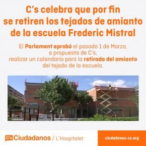 C's celebra la retirada de los tejados de amianto de la escuela Frederic Mistral