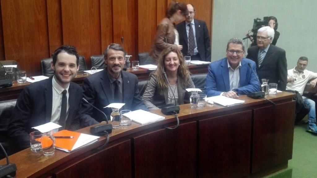 Los 4 concejales de Cs antes del inicio del Pleno Municipal
