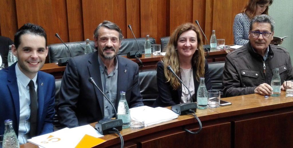 Los 4 concejales de Cs l'Hospitalet antes de iniciar el Pleno Municipal de abril