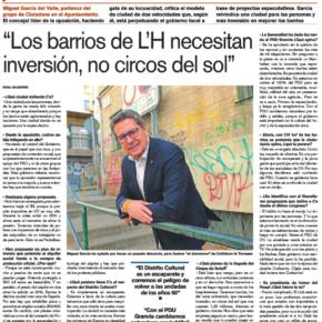 """Entrevista a Miguel García en el Diari de l'Hospitalet """"Los barrios de L'H necesitan inversión, no circos del sol"""""""