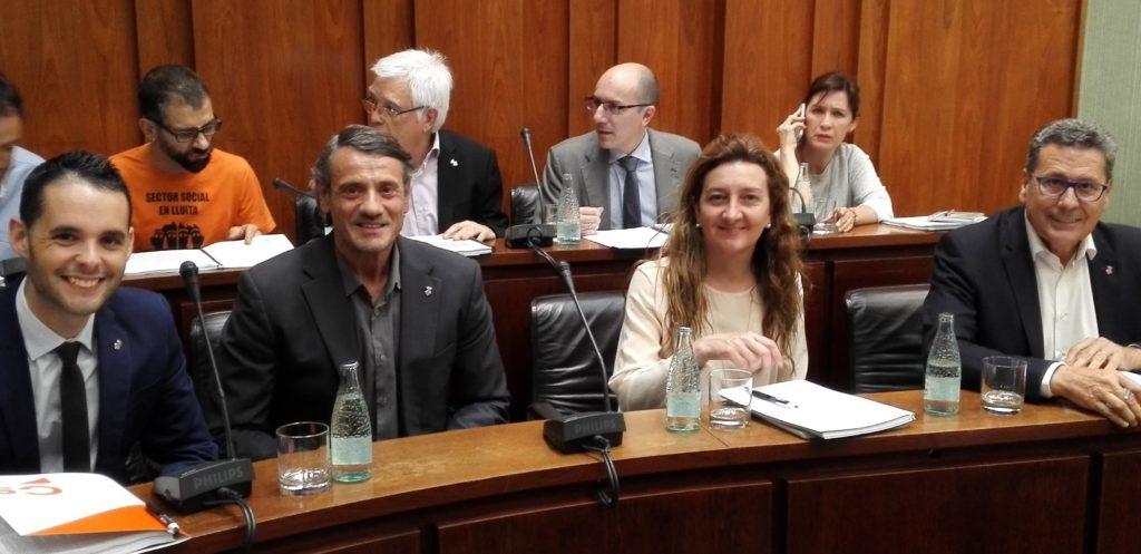 Los 4 concejales de Ciudadanos L'Hospitalet momentos antes de empezar el Pleno de mayo