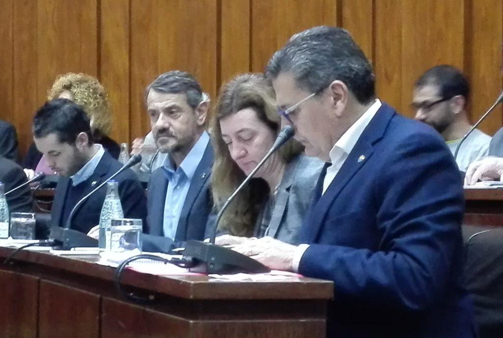 Los cuatro concejales de Cs en lHospitalet de Llobregat durante el inicio del pleno municipal