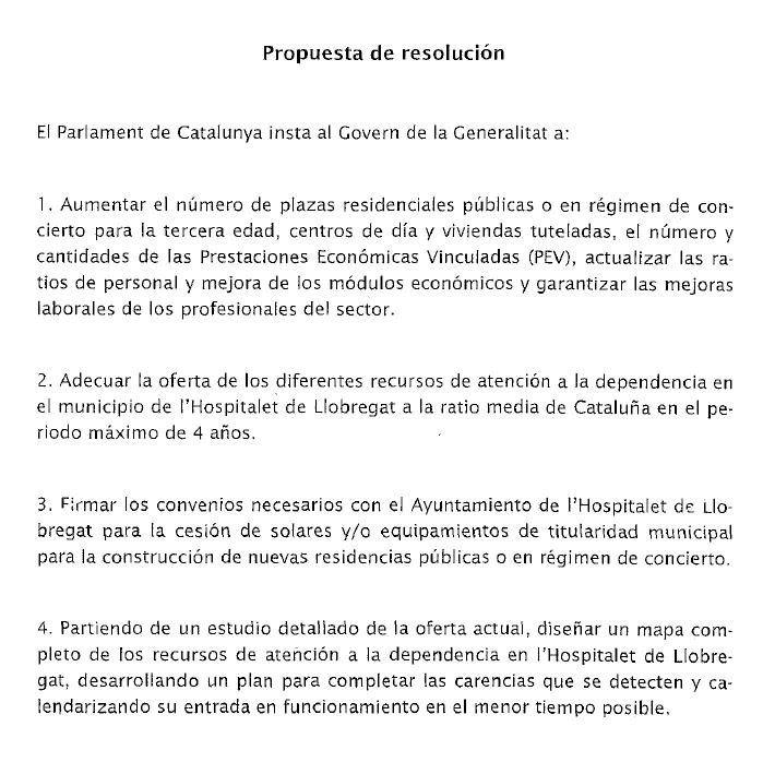 Extracto de la propuesta de resolución presentada en el Parlament de Catalunya