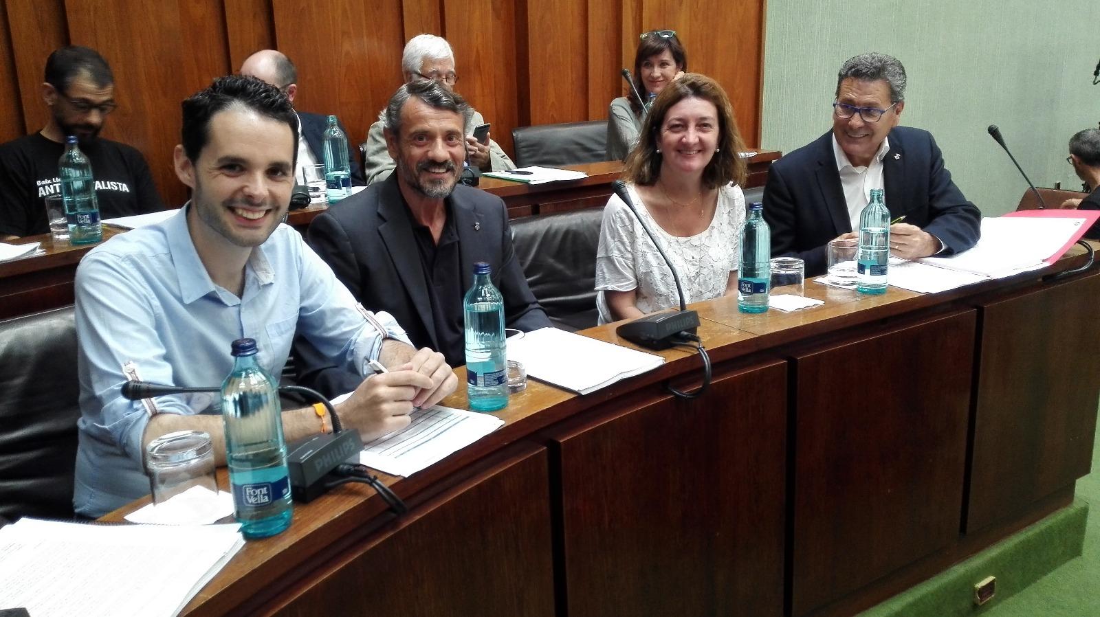 Los cuatro concejales de Cs l'Hospitalet preparados para iniciar el pleno municipal de julio