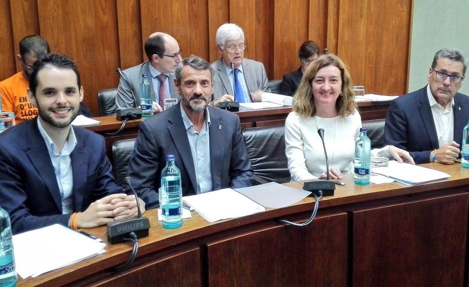 Los cuatro concejales de Cs l'Hospitalet momentos antes de iniciar el pleno municipal de octubre