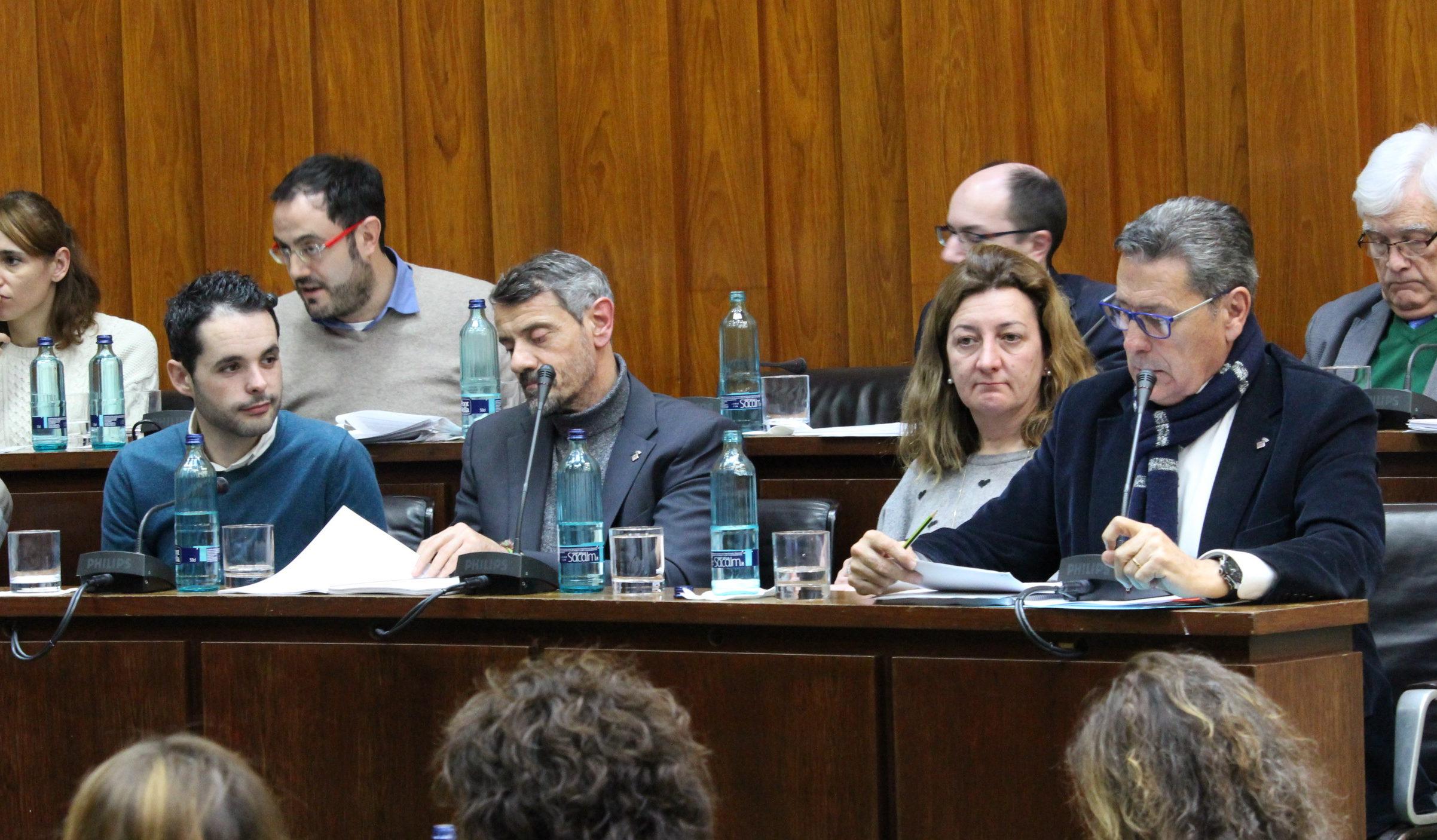 Los cuatro concejales de Ciudadanos Cs en lHospitalet durante el pleno municipal de enero