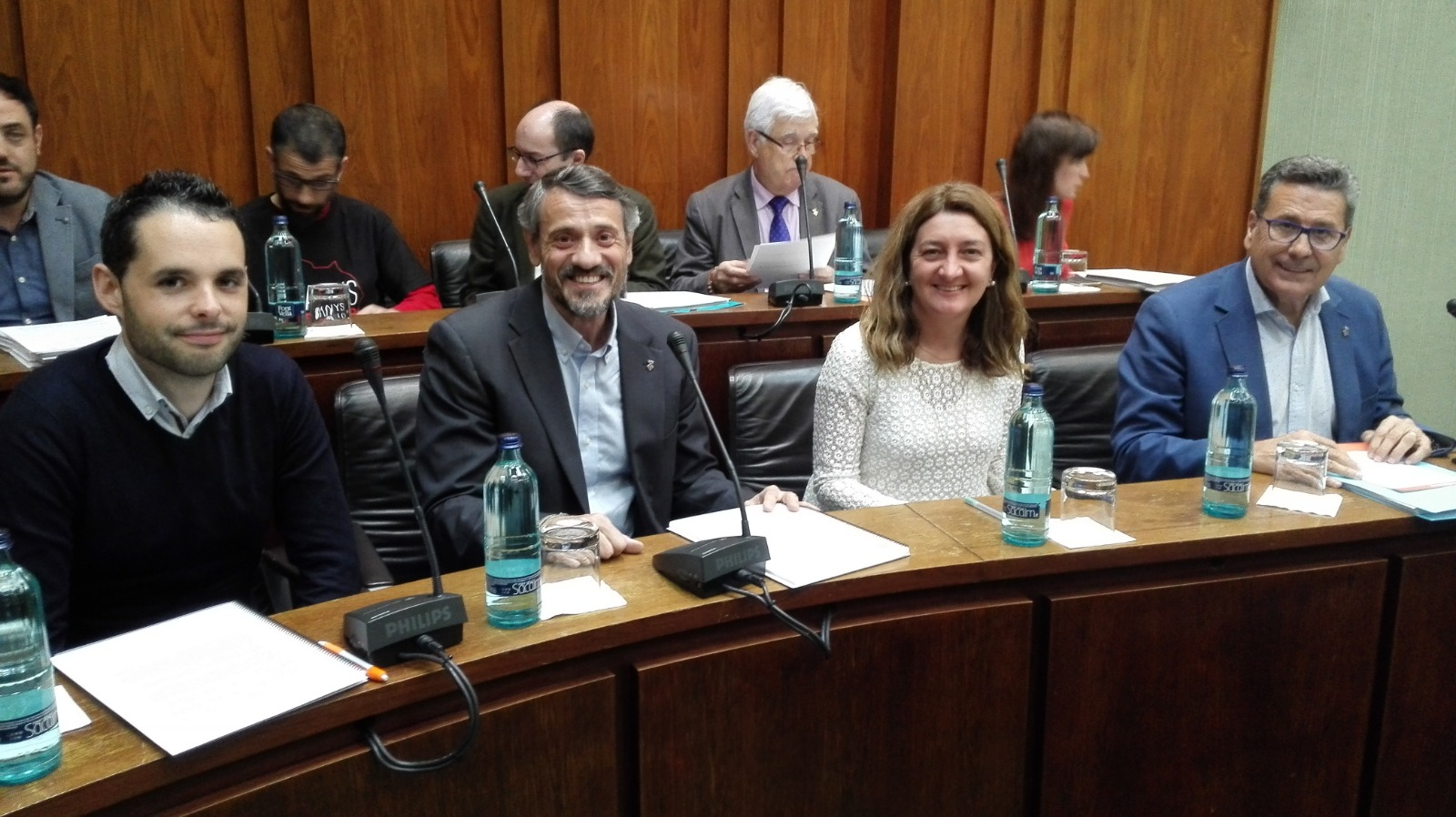 Los cuatro concejales de Cs en l'Hospitalet de Llobregat durante el pleno municipal de marzo
