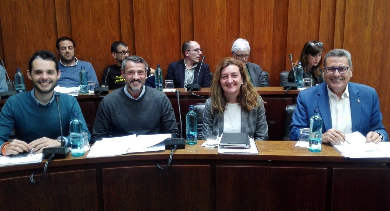Los cuatro concejales de Cs lHospitalet momentos antes de iniciar el pleno municipal de abril