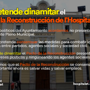 Cs l'Hospitalet critica los intentos de ERC de dinamitar el Pacto de Reconstrucción de Ciudad tras la pandemia