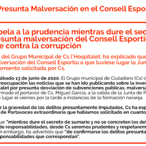 Cs l'Hospitalet apela a la prudencia mientras dure el secreto de sumario en el caso de presunta malversación del Consell Esportiu pero se reafirma en ser implacable contra la corrupción