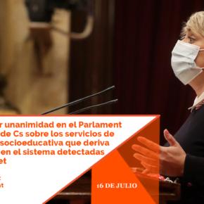 Aprobada por unanimidad en el Parlament la propuesta de Cs sobre los servicios de intervención socioeducativa que deriva de carencias en el sistema detectadas en l'Hospitalet