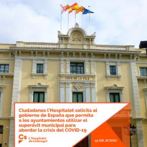 Ciudadanos l'Hospitalet recuerda que el Pleno municipal aprobó por unanimidad en junio su moción para solicitar al gobierno de España poder disponer el superávit del Ayuntamiento para la crisis del COVID-19